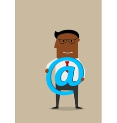 Businessman with e-mail technology symbol in hands vector image