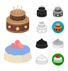 Cake and dessert cartoonblackflatmonochrome vector