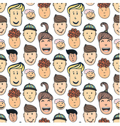 cartoon seamless pattern with of peoples faces vector image