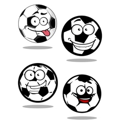 Cartoontd football or soccer balls mascots vector image