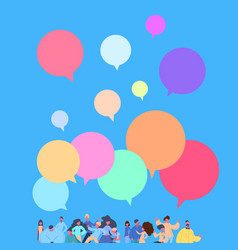 casual people group chat bubbles standing together vector image