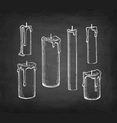 Chalk sketch candles vector