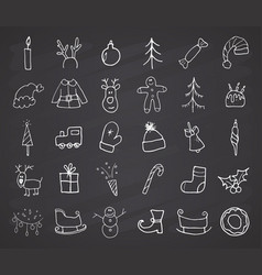 christmas and new year icons hand drawn doodles vector image