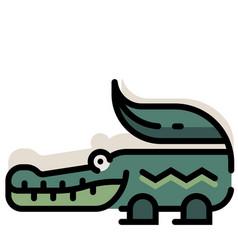 Crocodile linecolor vector