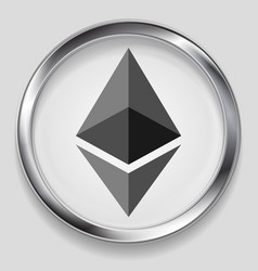 Crypto currency metal icon ethereum design vector