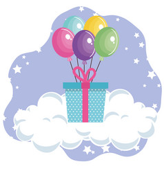 cute giftbox with balloons air party birthday card vector image
