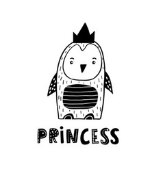 cute hand drawn penguin princess in black and vector image