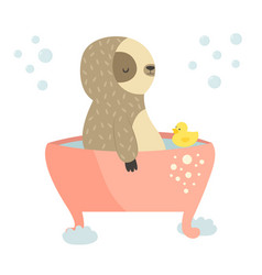 Cute sloth having a bath animal design vector