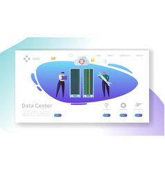Data center server repair landing page vector