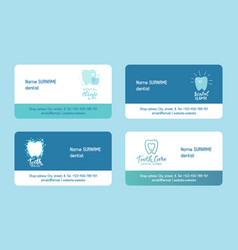 Dentist set business cards vector