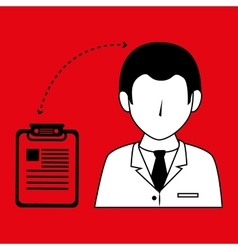 doctor with clinic history isolated icon design vector image
