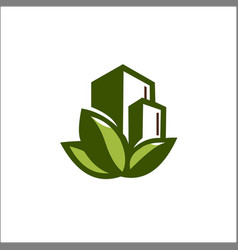 eco nature building logo template vector image