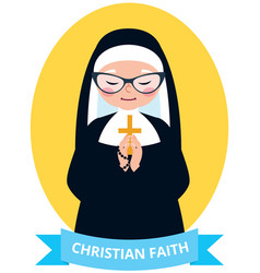 emblem of an old christian nun praying vector image