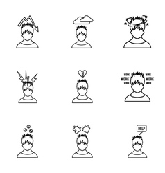 Feeling icons set outline style vector