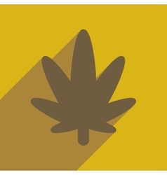 Flat web icon with long shadow cannabis vector image