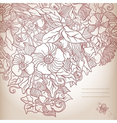 floral background hand drawn retro flowers and vector image