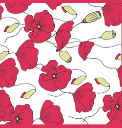 floral poppies seamless pattern vector image vector image