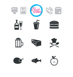 Food drink icons beer fish and burger signs vector