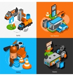 Gas station isometric 4 pictograms composition vector