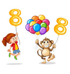 Girl and monkey with balloon number eight vector