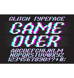Glitched typeface 01 vector