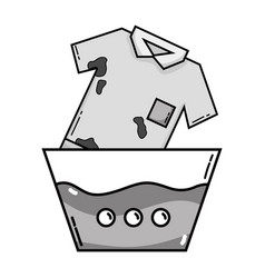 Grayscale clean t-shirt soaking in pail with water vector