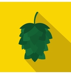 Green hop cone icon in flat style vector