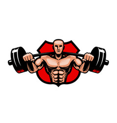 Gym bodybuilding sport logo or label vector