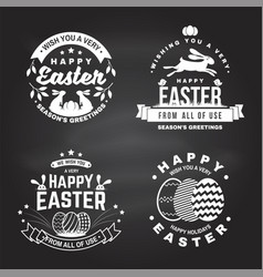 happy easter card badge logo sign vector image