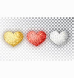 hearts glitter texture set red gold silver vector image