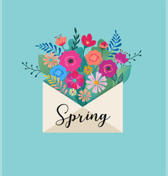 hello spring letter envelope with flower bouquet vector image