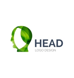 Human head logo design made of color pieces vector image