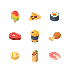 isometric food sushi meal bread fruit fish vector image