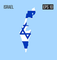 Israel map border with flag eps10 vector