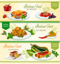 Italian cuisine dinner with dessert banner set vector