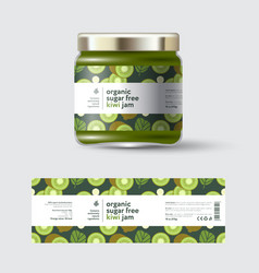 Jam kiwi label and packaging jar with cap vector