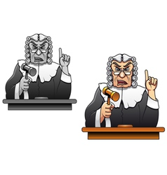 Judge with gavel for law concept design in cartoon vector