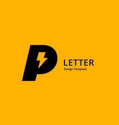 Letter p lightning logo icon design template vector