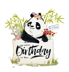 Little birthday panda vector