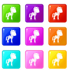 Little pony icons 9 set vector
