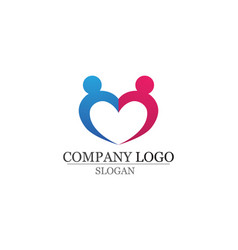 Love adoption and community care logo template vector