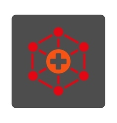 Medical Network Flat Button vector image