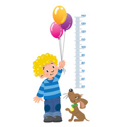 Meter wall or height chart with boy and puppy vector