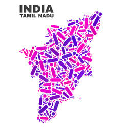 mosaic tamil nadu state map of dots and lines vector image