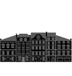 Old european houses in a row flat black drawing vector