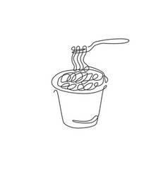 one single line drawing hot spicy noodles vector image