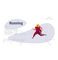 overweight woman running outdoor urban park vector image