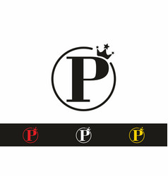 p initial letter in circle with crown logo vector image