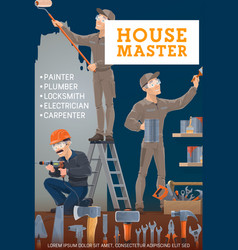 painter electrician carpenter and locksmith vector image