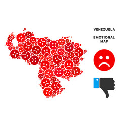 Pitiful venezuela map collage of sad emojis vector